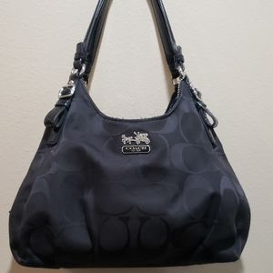 Coach Madison Maggie Op Art Silver and Black Tote